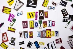 Un texte d'écriture de mot montrant le concept ce qui a apporté de vous interrogent ici fait de la lettre différente de journal d Photo libre de droits