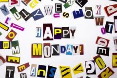Un texte d'écriture de mot montrant le concept de lundi heureux fait en lettre différente de journal de magazine pour le cas d'af Images libres de droits