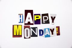 Un texte d'écriture de mot montrant le concept de lundi heureux fait en lettre différente de journal de magazine pour le cas d'af Photo libre de droits