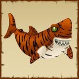 Un tiburón de tigre malvado, personaje de dibujos animados del vector libre illustration