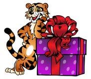 Un tigre divertido con un rectángulo de regalo. ilustración del vector
