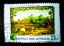 Un timbre imprimé dans l'Australie montre une image de carte de Noël australienne tôt pour Noël 1982 sur la valeur au cent 21 Photo libre de droits