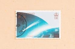 Un timbre imprimé en comète Halley d'expositions de Hong Kong, vers 1980 photo libre de droits