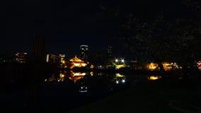 Un timelapse de coucher du soleil pr?s de l'?tang au parc traditionnel dans l'inclinaison tir?e large d'Ueno Tokyo banque de vidéos