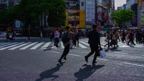 Un timelapse de la gente en la travesía en la inclinación tirada amplia diurna de Shibuya Tokio almacen de video