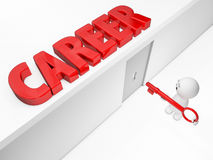 Un tipo sveglio 3D raggiunge una carriera (serie isolate happyman 3D) Immagini Stock