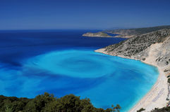 Un tir unique de plage de Myrtos Images stock