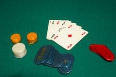 un tiraggio di 5 carte, poker, quattro assi Fotografia Stock