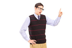Un tirante innocente che gesturing - siete sbagliato Fotografia Stock