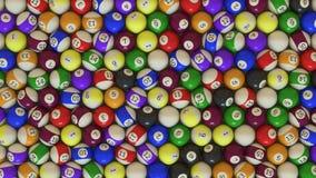 Un tiro de arriba de un arsenal grande de bolas de piscina foto de archivo
