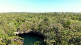 Un tiro de arriba de la selva y del cenote de El Jardin del Eden llenados de los nadadores almacen de metraje de vídeo