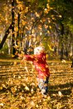 un tiro dei 3 di autunno fogli dei bambini Fotografia Stock Libera da Diritti