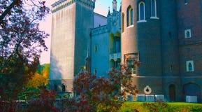 Un tiro hermoso al lado de una pared vieja de un castillo en Polonia - con un cielo azul hermoso - terraza que pasa por alto el p imagen de archivo libre de regalías