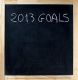Un titolo di 2013 obiettivi sulla lavagna Immagine Stock Libera da Diritti