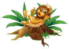 Un tocón con el rey de la selva ilustración del vector