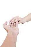 Un tocco delle due mani per il concetto di amore. Immagini Stock