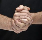 Un togheter di due mani Fotografie Stock