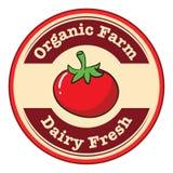 Un tomate con una etiqueta fresca y orgánica de la lechería de la granja libre illustration