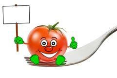 Un tomate de la historieta en una fork Fotos de archivo