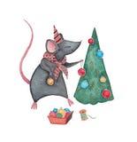 Un topo con l'albero di Natale Fotografia Stock Libera da Diritti