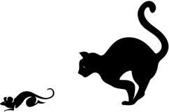 Un topo di cattura del gatto Fotografie Stock