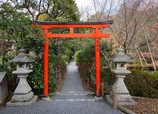Un torii rosso con le lanterne di pietra al giardino Fotografia Stock Libera da Diritti