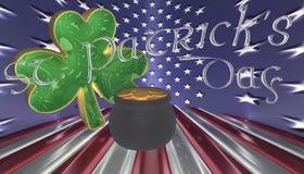 Un trébol con una mina de oro Símbolos para el día de Patricks del santo aislado contra una bandera de América Imagen de archivo
