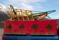 Un traîneau utilisé pour mushing en Alaska photos stock