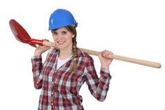 Un trabajador de construcción de sexo femenino feliz Foto de archivo