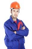 Un trabajador de construcción de sexo masculino Imagen de archivo libre de regalías