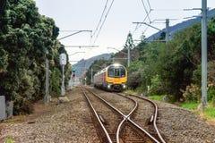 Un train de voyageurs près de gare ferroviaire de Waikanae Image libre de droits