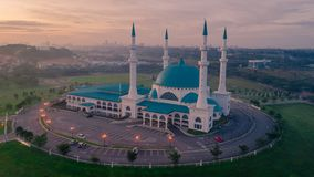 Un tramonto alla moschea blu, Shah Alam Fotografia Stock Libera da Diritti
