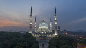 Un tramonto alla moschea blu, Shah Alam Immagine Stock Libera da Diritti
