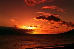 Un tramonto arancione fotografia stock libera da diritti