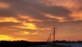Un tramonto elettrico immagine stock