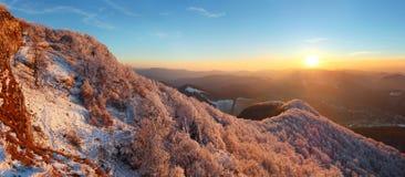 Un tramonto gelido nel paesaggio del hoarfrost fotografie stock libere da diritti