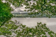 Un transbordador en un lago visto a través de árboles foto de archivo libre de regalías