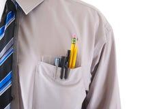 Un travailleur avec un protecteur de poche d'isolement sur le blanc Image libre de droits