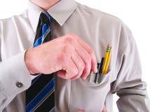 Un travailleur avec un protecteur de poche d'isolement sur le blanc Photo libre de droits