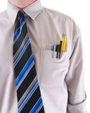 Un travailleur avec un protecteur de poche d'isolement sur le blanc Photographie stock