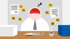 Un travailleur dormant dans sa pièce de bureau illustration stock