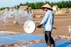 Un travailleur non identifié de sel éclaboussant le nettoyage de l'eau met en place en dist de Hai Hau, Namdinh, Vietnam Photos stock