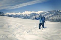 Un trekking della viandante nel paesaggio di inverno fotografie stock libere da diritti