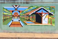 Un tren en el mural de la estación en James Road en Memphis, Tennessee fotografía de archivo