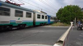 Un tren para la estación de Pisa pasa una travesía de ferrocarril en Pisa metrajes