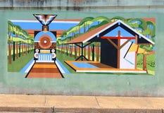 Un treno al murale della stazione su James Road a Memphis, Tennessee fotografia stock
