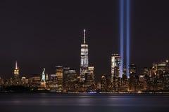 Un tributo di 911 memoriale alle luci Fotografie Stock Libere da Diritti