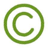Un trifoglio dei quattro fogli del segno del copyright Fotografia Stock