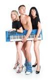 Un trio des musiciens sans le pantalon Image stock