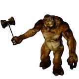 Un troll marrone diabolico enorme e muscolare illustrazione di stock